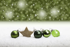 Green christmas balls arrangement background Royalty Free Stock Photography