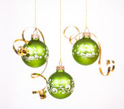 Green Christmas balls Stock Image