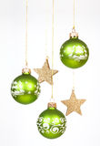 Green christmas balls Stock Images