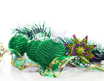 Green christmas balls and ribbon Stock Photo