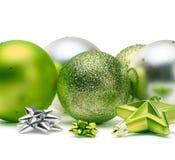 Green and Christmas balls Stock Image