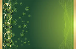 Green Christmas balls with snowflakes. Background Stock Photo