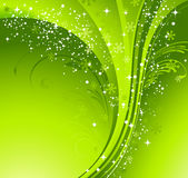 Green Christmas banner with snowflakes Stock Photo