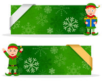 Green Christmas Banners with Happy Elf. Two green Christmas banners with a cute cartoon elf smiling and greeting, snowflakes and a ribbon. Eps file available Royalty Free Stock Images