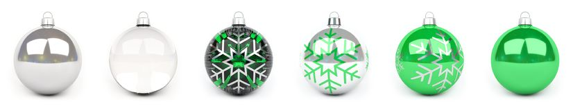 Green christmas bauble collection 3D rendering. Green christmas bauble collection on white background 3D rendering Royalty Free Stock Image