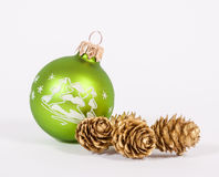 Green christmas bauble Stock Photos