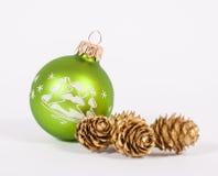 Green christmas bauble Stock Photos