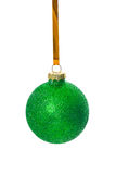 Green christmas bauble isolated on white background Royalty Free Stock Photo