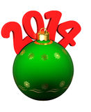 Green Christmas bauble with red 2014 date. 3d Green Christmas bauble with red 2014 date stock illustration