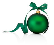 Green Christmas bauble with ribbon bow isolated on white Stock Photo