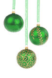 Green Christmas baubles Royalty Free Stock Image
