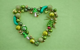 Green christmas baubles Stock Image