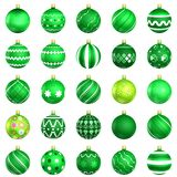 Green christmas baubles big back 25 Stock Photo