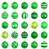 Green christmas baubles big back 25 Stock Photo