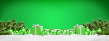 Green christmas baubles and gifts lined up 3D rendering. Green christmas gifts and baubles lined up on green background 3D rendering stock illustration