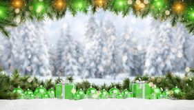 Green christmas baubles and gifts lined up 3D rendering royalty free illustration
