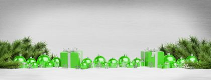Green christmas baubles and gifts lined up 3D rendering. Green christmas gifts and baubles lined up on wooden background 3D rendering vector illustration