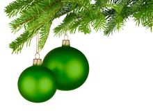 Green Christmas baubles hanging from fresh green twigs Stock Images