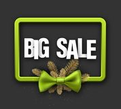 Green big sale card with bow. Green Christmas big sale sign with fir branches and bow. Vector illustration Royalty Free Stock Photos