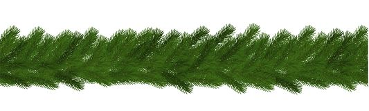 Green Christmas border of pine branch, seamless vector isolated on white background. Xmas garland de stock illustration