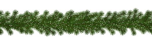 Green Christmas border of pine branch with snow, seamless vector isolated on white background. Xmas. Garland decoration effect. Border of branch christmas tree stock illustration