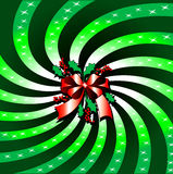 Green Christmas Bow Background. Vector Illustration of Green Christmas Bow Background with Rays Stock Photography