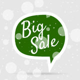 Green Christmas Bubble with white Big Sale Text. On Winter Background with Snowflakes. Advertising Sticker Template. Vector illustration Stock Image