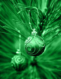 Green Christmas Bulbs royalty free stock images