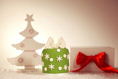 Green Christmas cake with christmas tree decoration Royalty Free Stock Photography