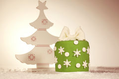 Green Christmas cake with christmas tree decoration Royalty Free Stock Images