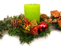 Green Christmas candle Stock Photo