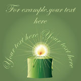 Green Christmas candle. With space for text, candle, candles, aura, candlelit, candlelight, candlestick, christmas, xmas, noel, light, evening, festive, night Stock Image