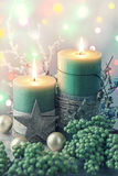 Green christmas candles Royalty Free Stock Photo