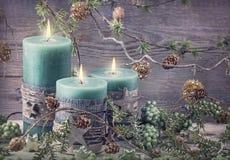 Green christmas candles Stock Image
