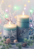 Green christmas candles Royalty Free Stock Photos