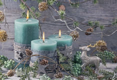 Green christmas candles Royalty Free Stock Photography