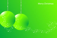Green christmas card. With balls and stars Royalty Free Stock Photos