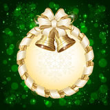 Green Christmas card with bells Royalty Free Stock Photo