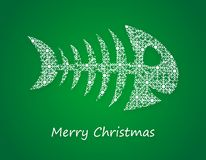 Green christmas card. With christmas carp contains many snowflakes Royalty Free Stock Photography