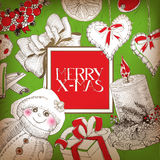 Green Christmas card with drawings and lettering Stock Photography