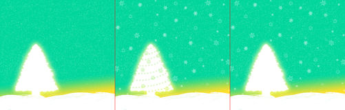 Green Christmas card with a fir tree royalty free stock photo