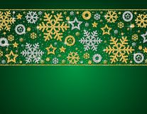 Green christmas card with frame of golden and silver glittering. Snowflakes and stars, vector illustration stock illustration