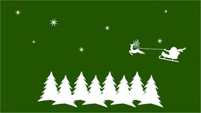 Green Christmas card. Santa claus is flying over snow coverd pine trees Stock Illustration