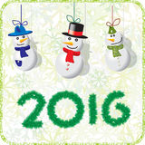Green Christmas card with snowmen 2016.  stock illustration