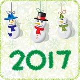 Green Christmas card with snowmen 2017.  vector illustration