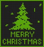 Green christmas card with tree. In tetris style Stock Photo