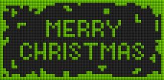 Green christmas card. Wide green christmas card in tetris style Royalty Free Stock Image