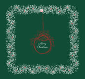 Green Christmas card with winter berry pattern Stock Photography