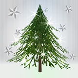 Green christmas classical tree with stars Royalty Free Stock Image