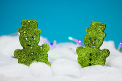 Green christmas decoration. Two green bear decorations for christmas Royalty Free Stock Photography